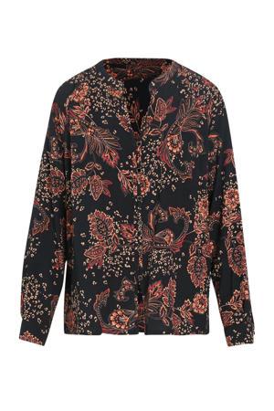 blouse met all over print zwart/rood/licht oranje