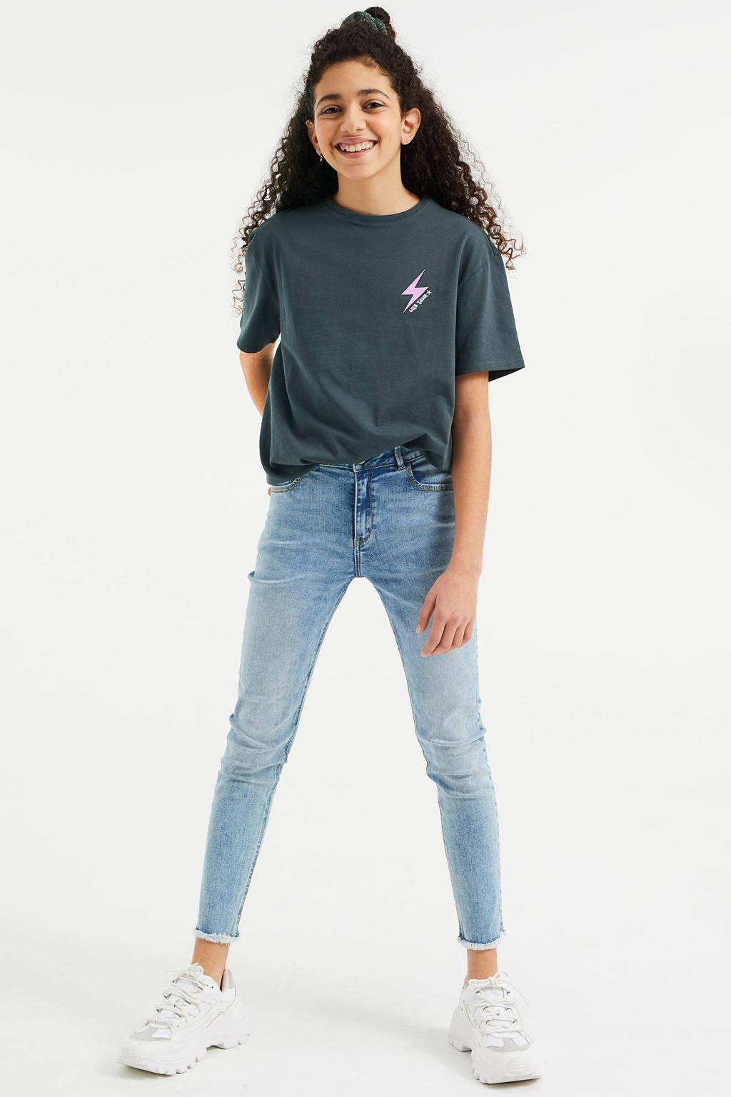 WE Fashion boyfriend fit T-shirt antraciet, Antraciet