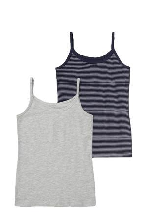 singlet - set van 2 grijs melange/donkerblauw