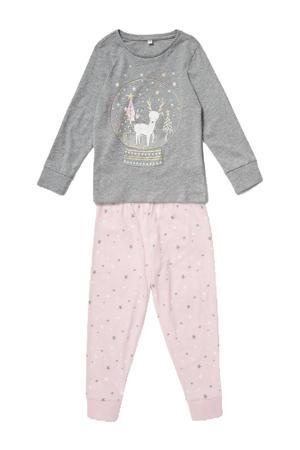 pyjama grijs melange/roze
