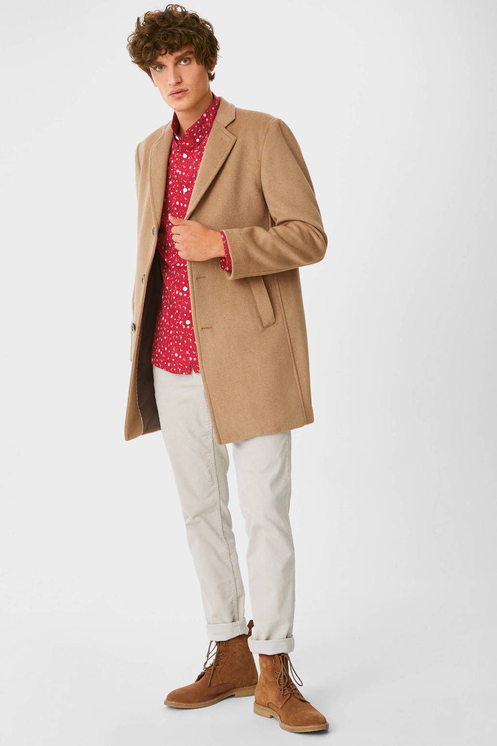 C&A Angelo Litrico slim fit overhemd met all over print rood, Rood