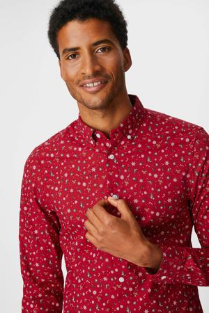 slim fit overhemd met all over print rood