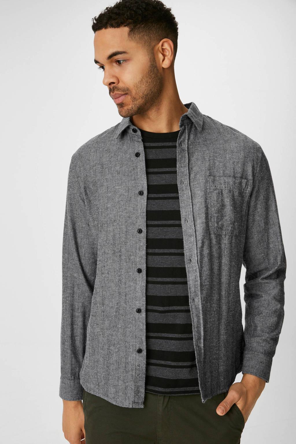 C&A Angelo Litrico slim fit overhemd grijs, Grijs