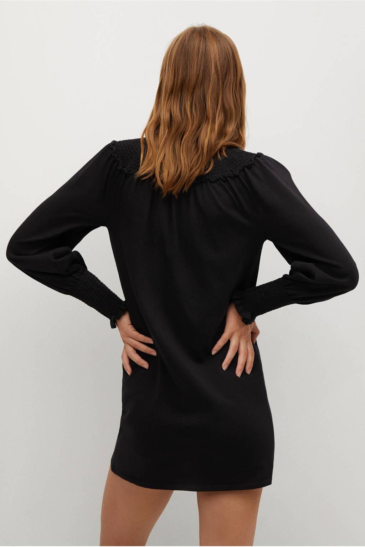 Mango jurk met ruches zwart, Zwart