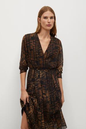 maxi jurk met ceintuur bruin/zwart