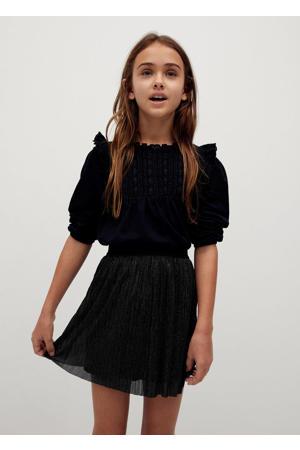 gemêleerde semi-transparante rok zwart