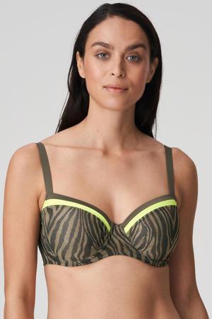 beugel bikinitop Atuona met zebraprint olijfgroen/geel