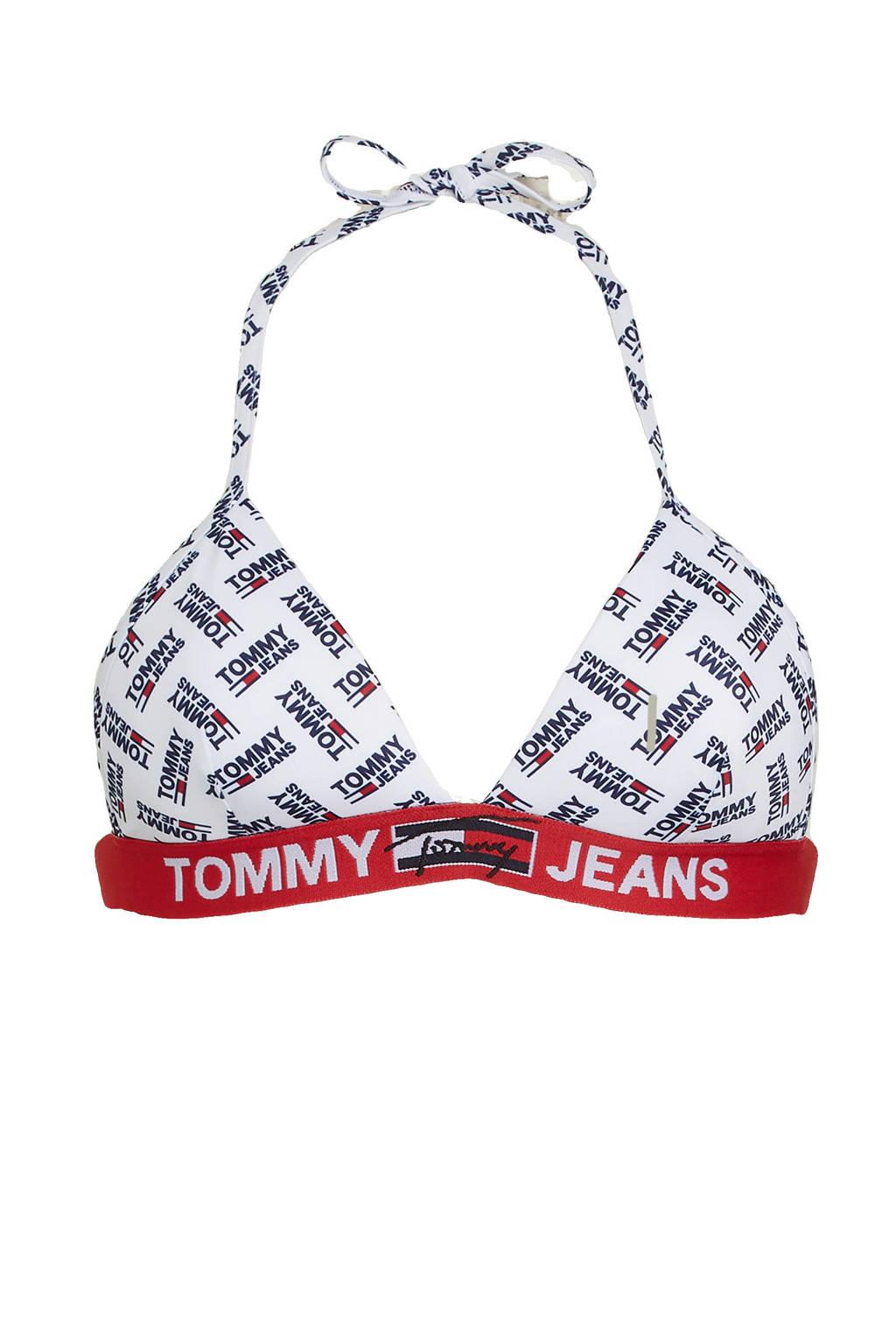 Tommy Hilfiger triangel bikinitop met all over print wit/zwart/rood, Wit/zwart/rood