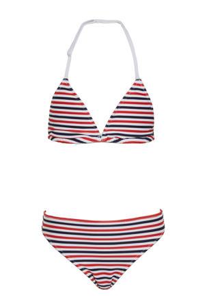 gestreepte triangel bikini rood/wit/blauw