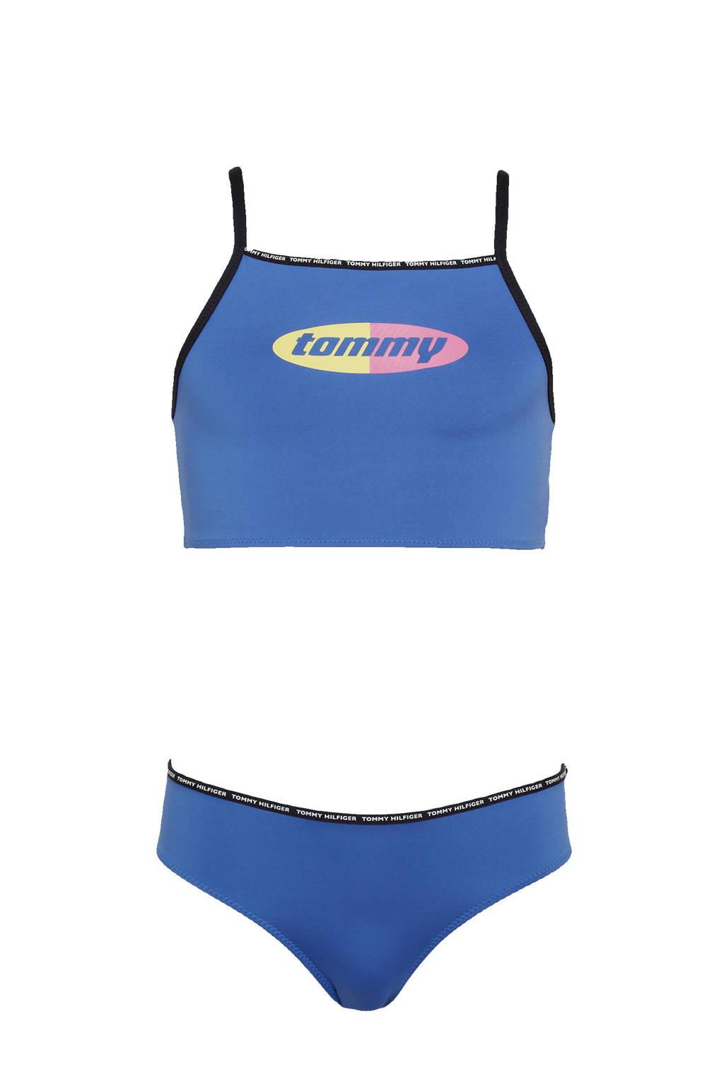 Tommy Hilfiger crop bikini met logo blauw, Blauw
