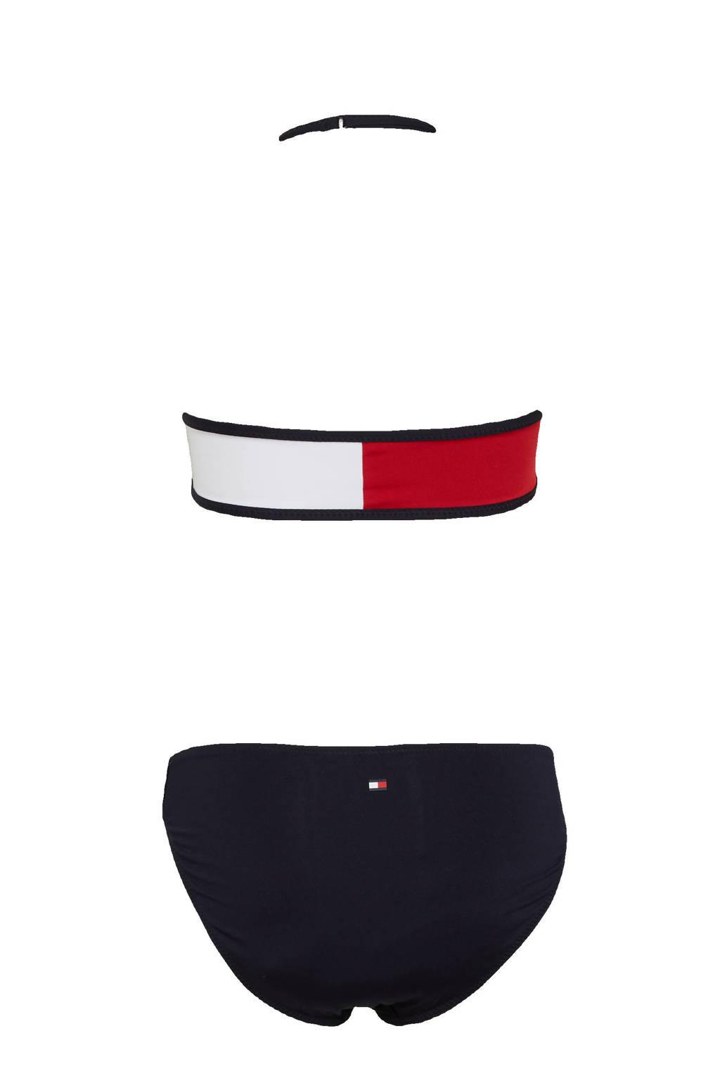 Tommy Hilfiger crop bikini donkerblauw/rood/wit, Donkerblauw/rood/wit