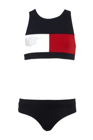 crop bikini donkerblauw/wit/rood