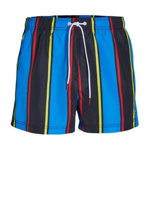 gestreepte zwemshort blauw/zwart