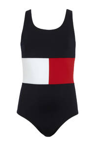 Tommy Hilfiger badpak donkerblauw/wit/rood, Donkerblauw/wit/rood