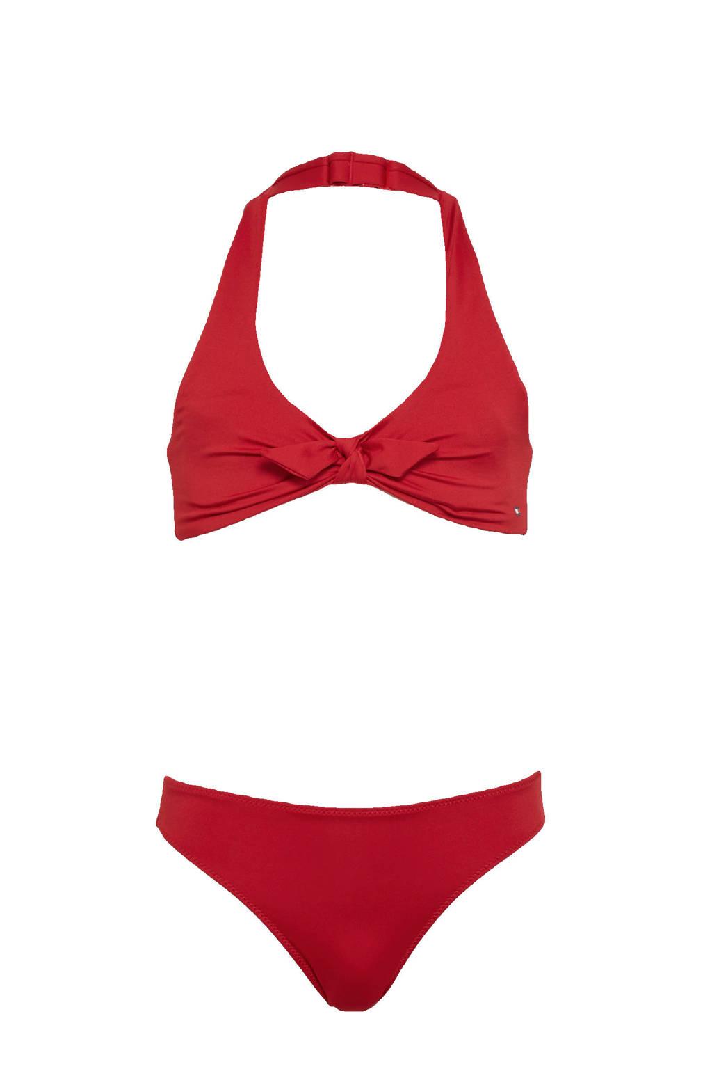 Tommy Hilfiger halter bikini met strik detail rood, Rood