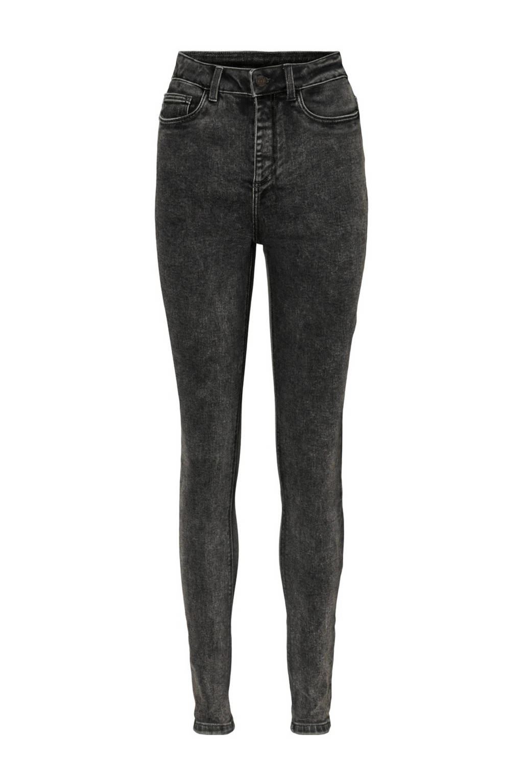 NOISY MAY high waist skinny jeans NMCALLIE black, Donkergrijs