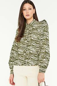 PIECES blouse met panterprint zand, Zand