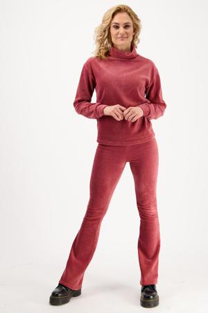 fluwelen flared legging Sahara new marsala pink