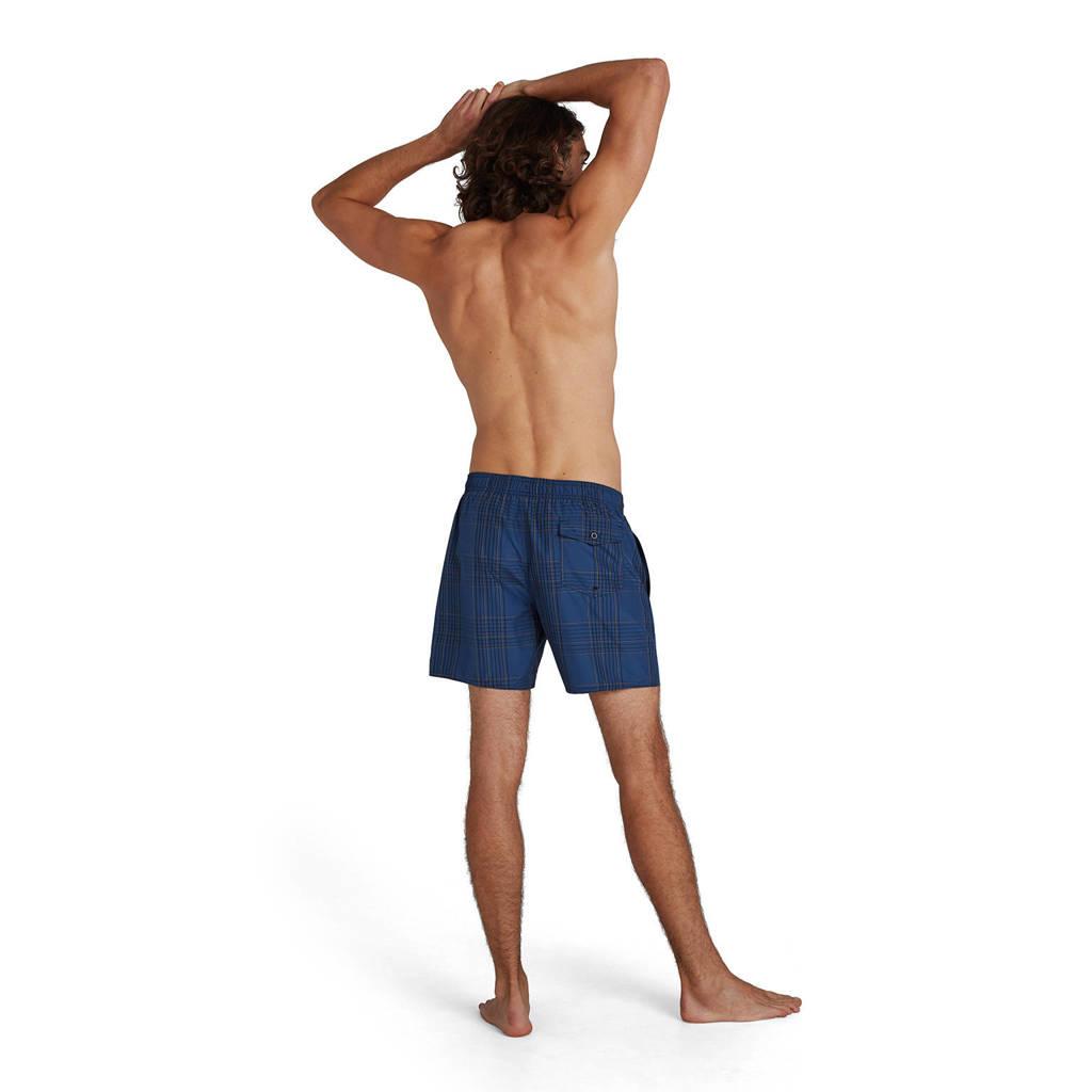 Speedo geruite zwemshort donkerblauw/oranje, Donkerblauw/oranje