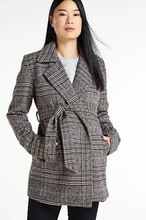 geruite zwangerschapscoat winter Kleoh zwart/grijs/bruin
