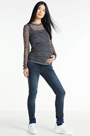 zwangerschapstop met all over print en mesh antraciet