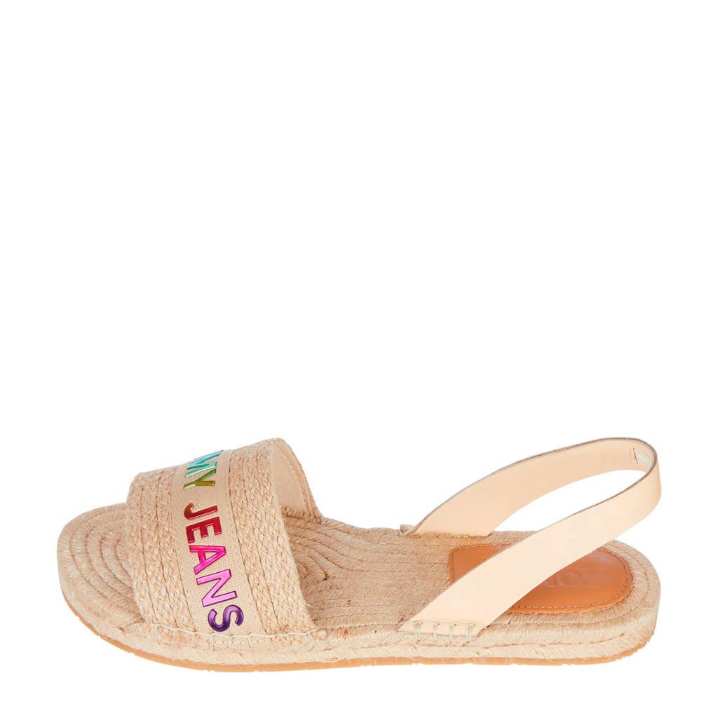 Tommy Jeans Rainbow Branding Flat Sandal  sandalen met logo beige, Beige/multi