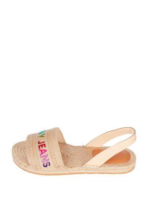 Rainbow Branding Flat Sandal  sandalen met logo beige