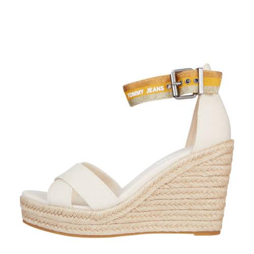 Tommy Jeans Lurex Webbing Wedge Sandal sleehakken beige