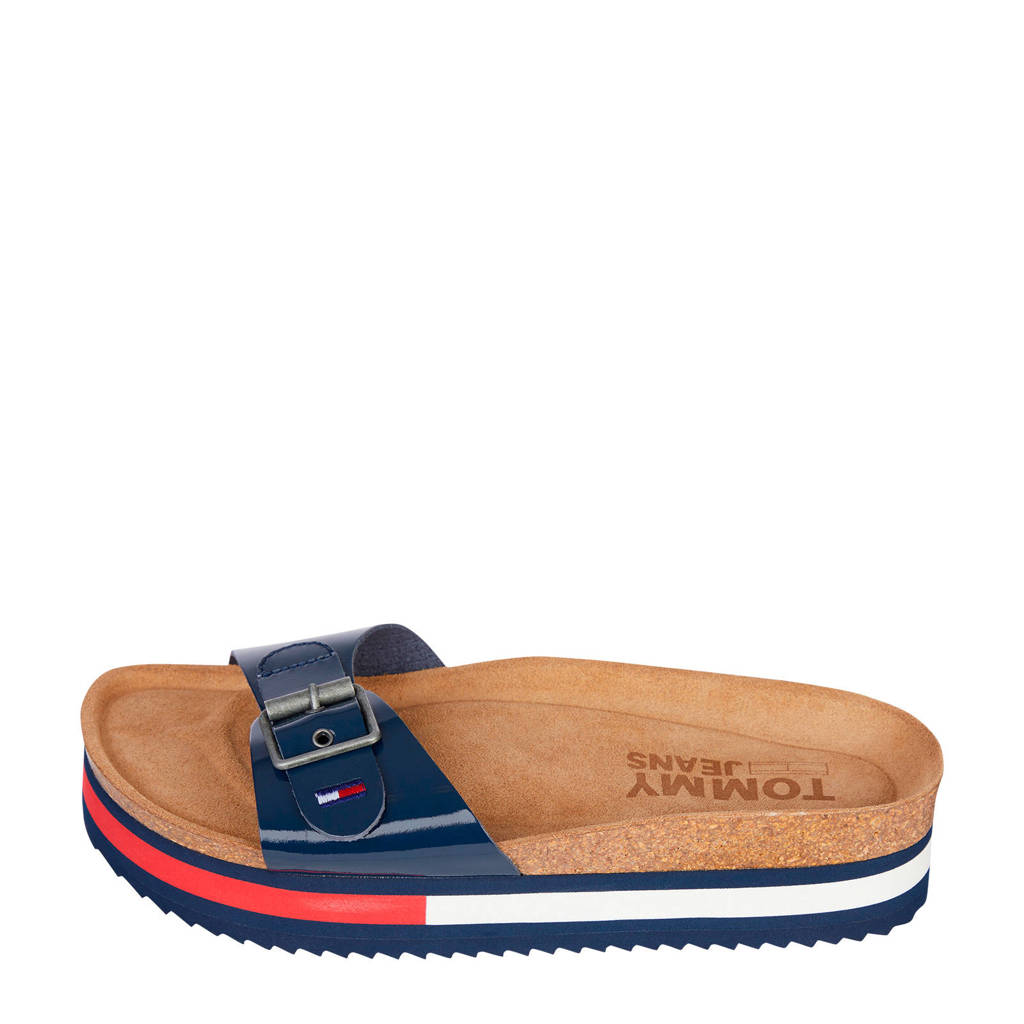 Tommy Jeans Flag Outsole Mule  plateau slippers donkerblauw, Donkerblauw