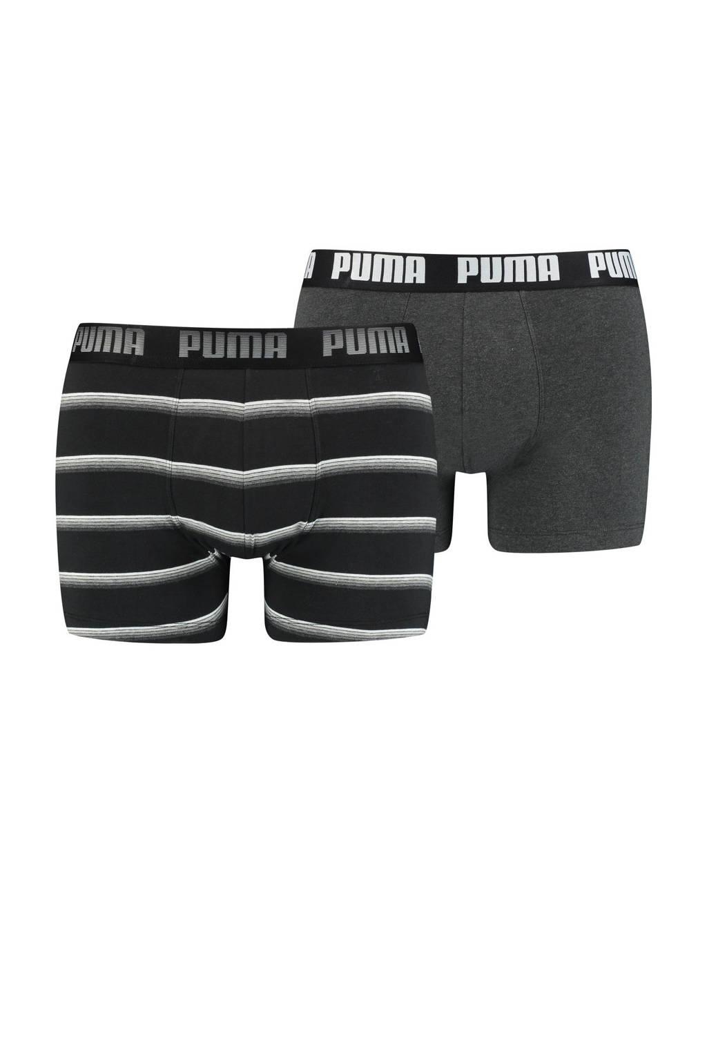 Puma boxershort (set van 2), Zwart/grijs