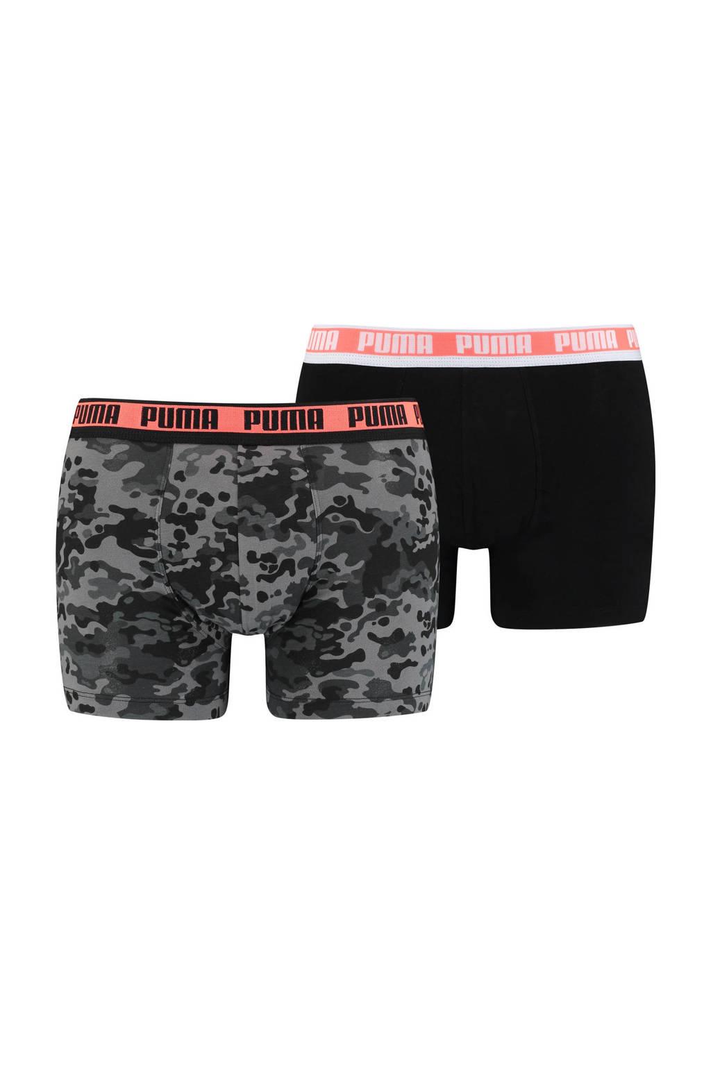 Puma boxershort (set van 2), Zwart/grijs/rood