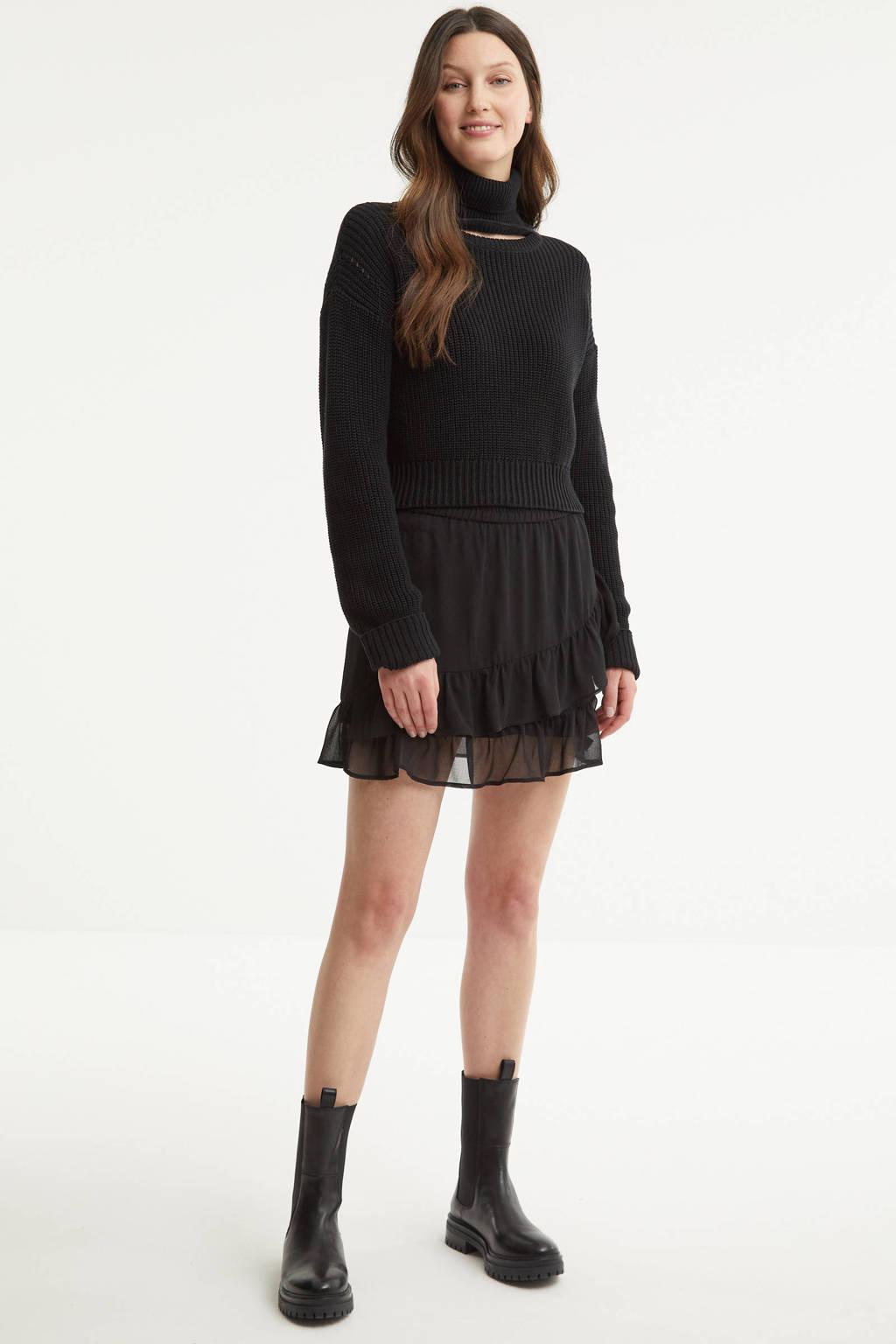 ONLY rok met panterprint en volant zwart/beige, Zwart/beige