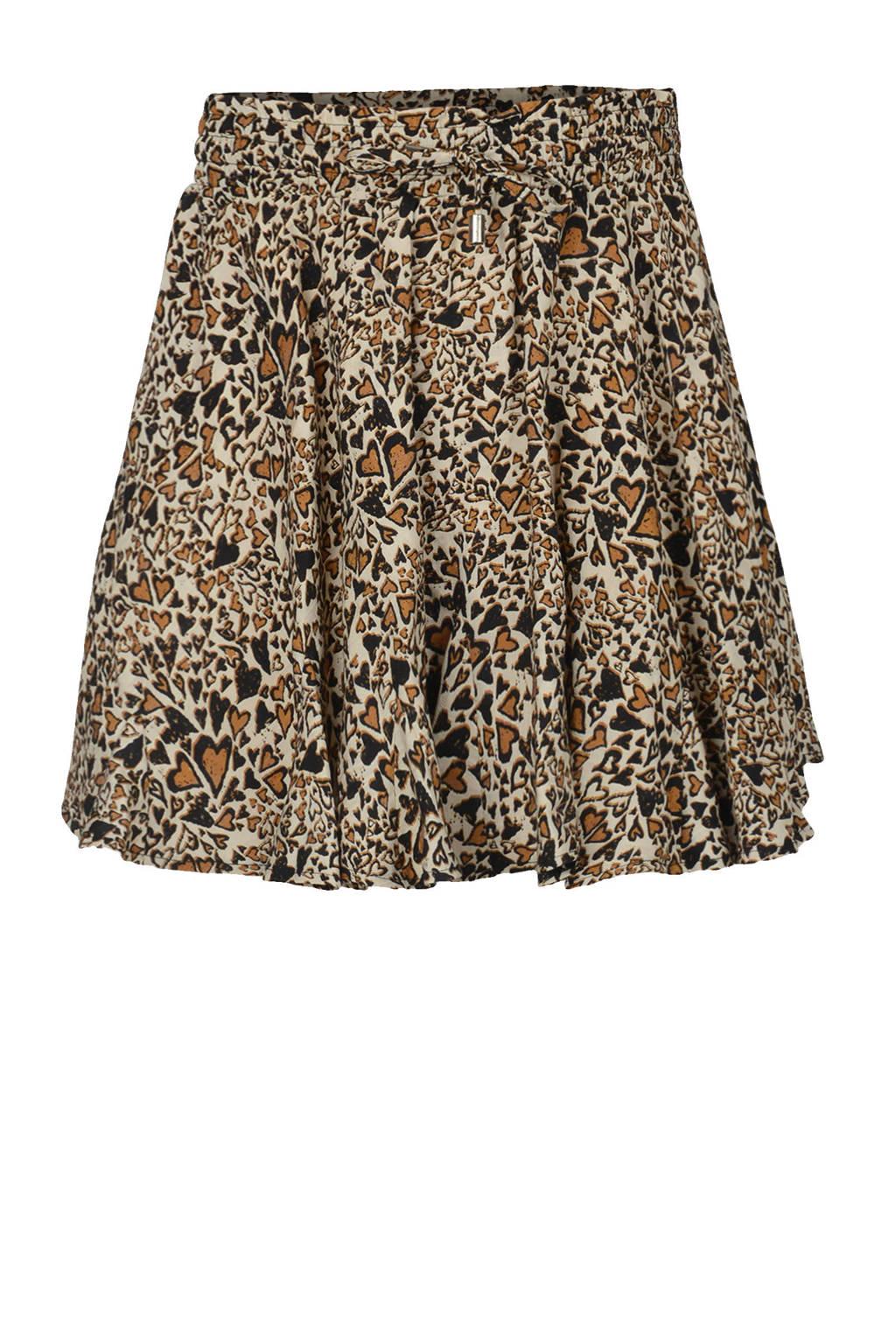 Shoeby Jill & Mitch mini rok West met all over print ecru/bruin/zwart, Ecru/bruin/zwart