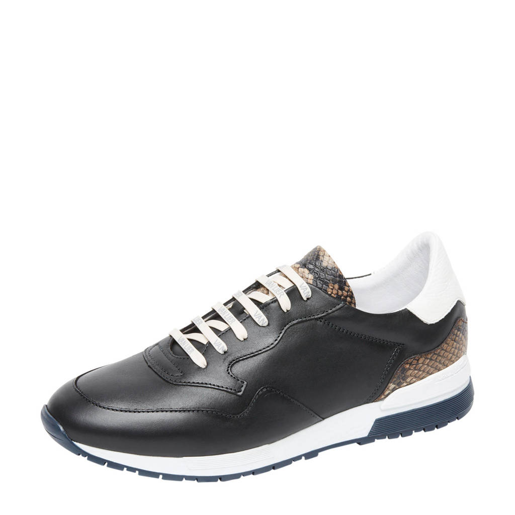Van Lier Chavar  leren sneakers zwart, Zwart/bruin