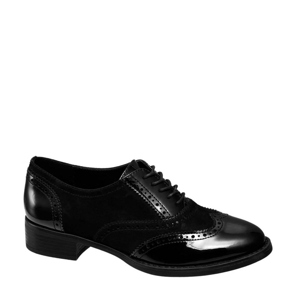 Graceland   lak veterschoenen zwart, Zwart
