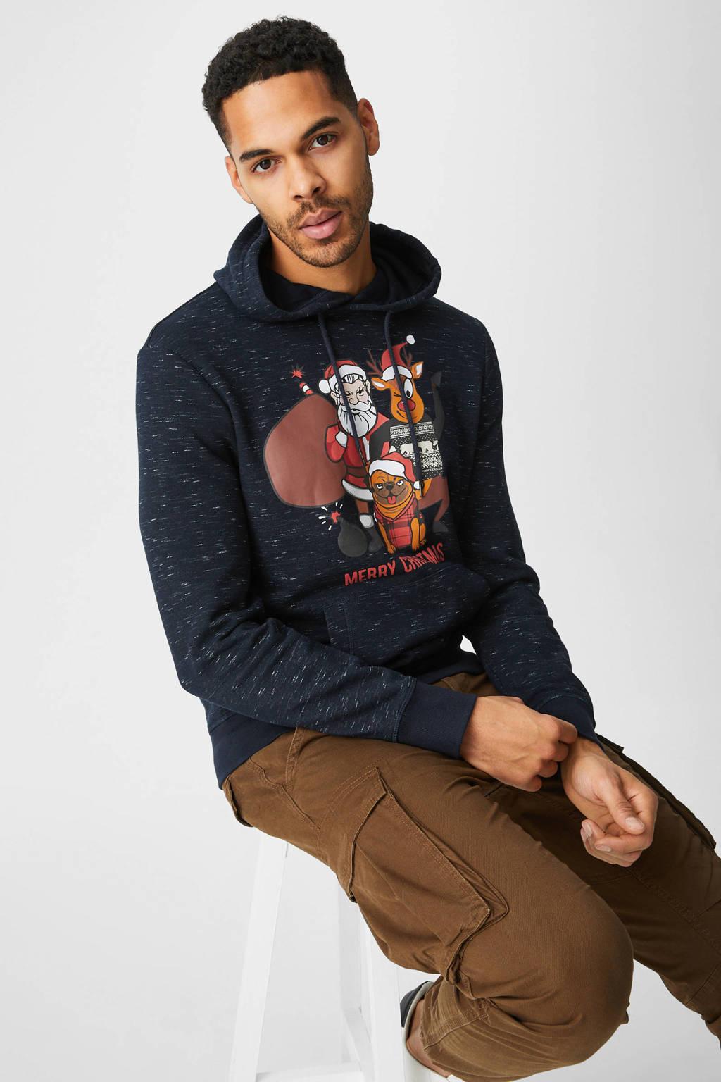 C&A Angelo Litrico hoodie met printopdruk donkerblauw, Donkerblauw