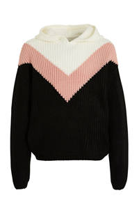 C&A Here & There trui zwart/wit/roze, Zwart/wit/roze