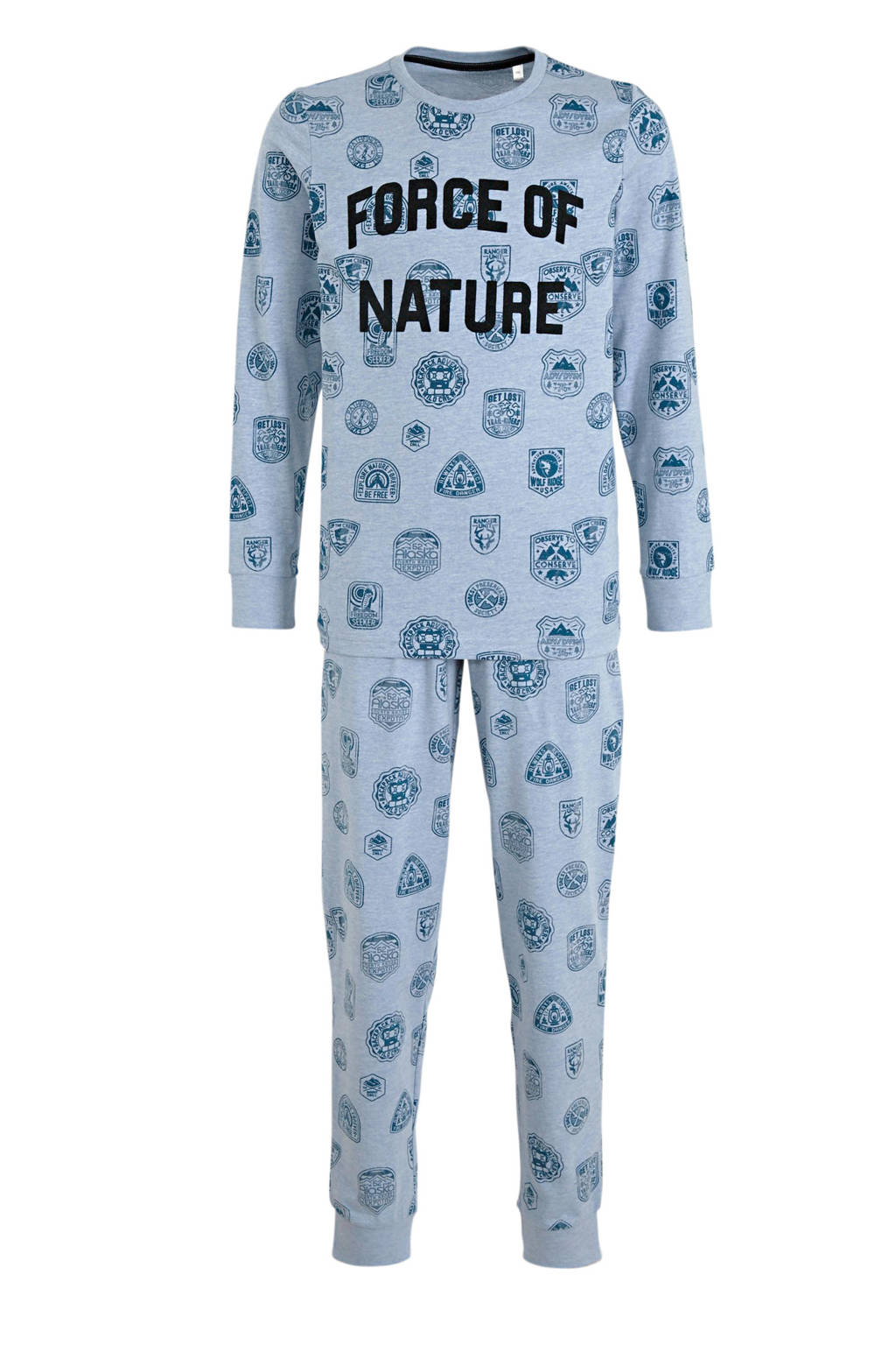 C&A Here & There   pyjama met all over print blauw, Lichtblauw