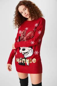 Disney @ C&A fijngebreide trui met printopdruk en pailletten rood/zwart/goud, Rood/Zwart/Goud