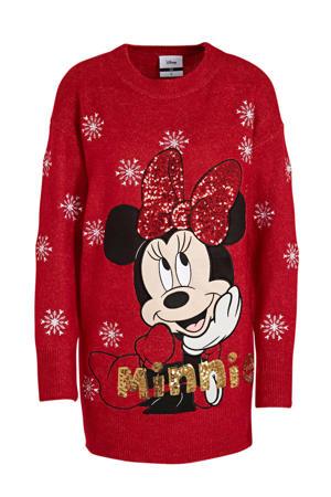 fijngebreide trui met printopdruk en pailletten rood/zwart/goud