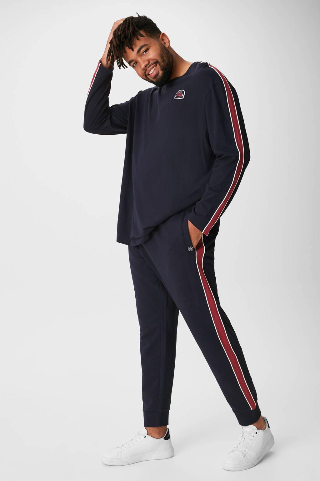 C&A XL joggingbroek met zijstreep donkerblauw, Donkerblauw