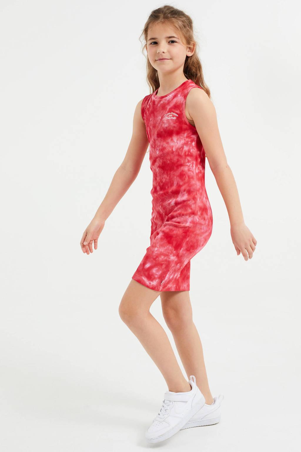 WE Fashion tie-dye maxi jurk rood/roze, Rood/roze