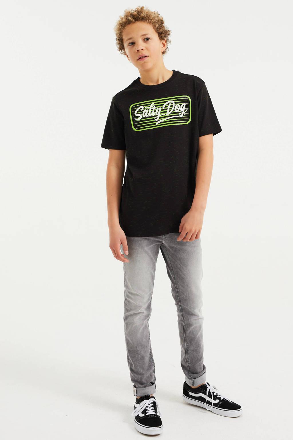 WE Fashion Salty Dog T-shirt met printopdruk zwart, Zwart
