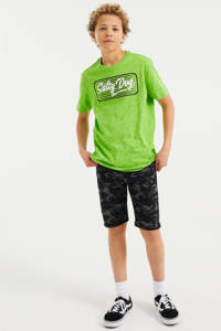 WE Fashion Salty Dog T-shirt met printopdruk groen, Groen