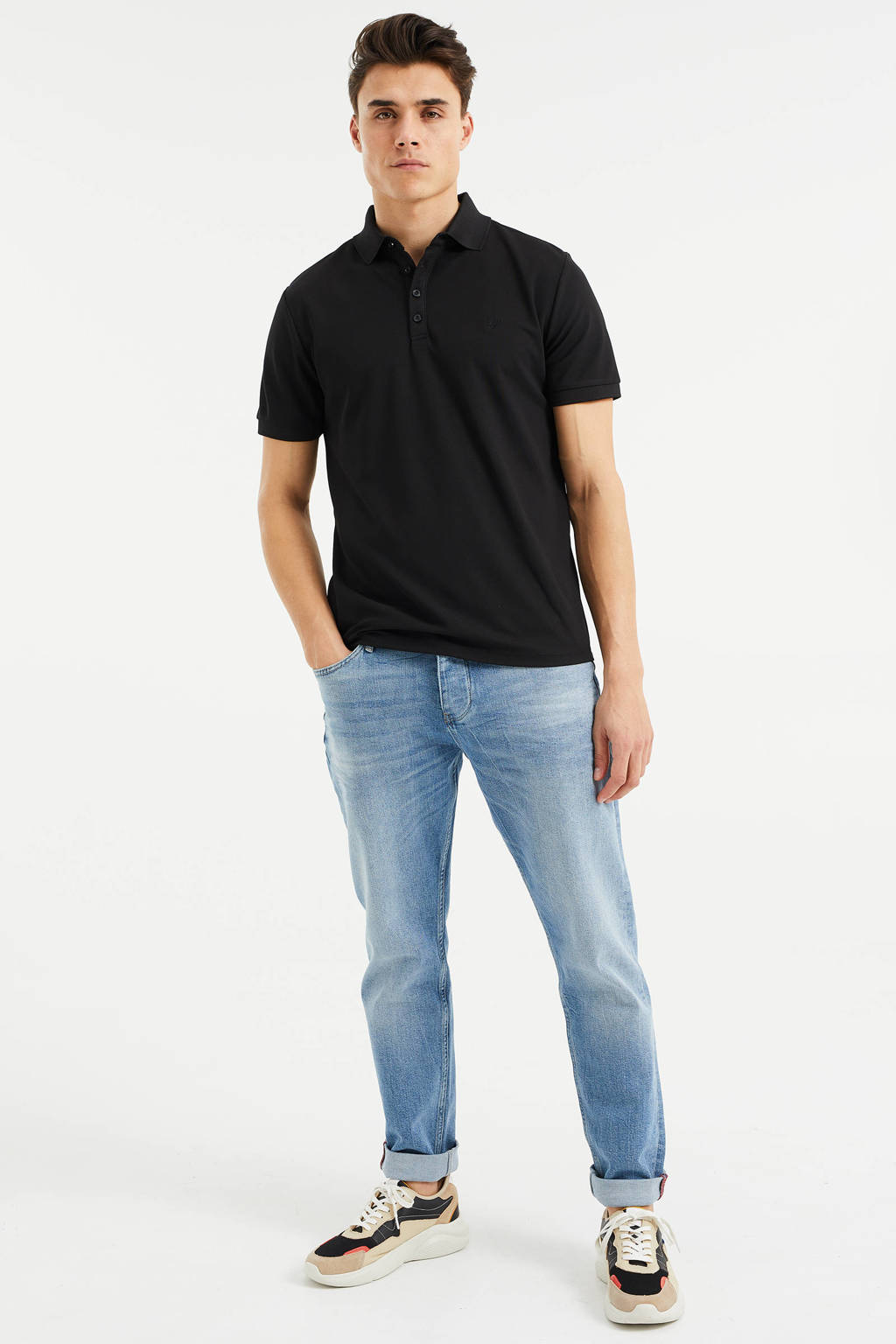 WE Fashion slim fit polo zwart, Zwart