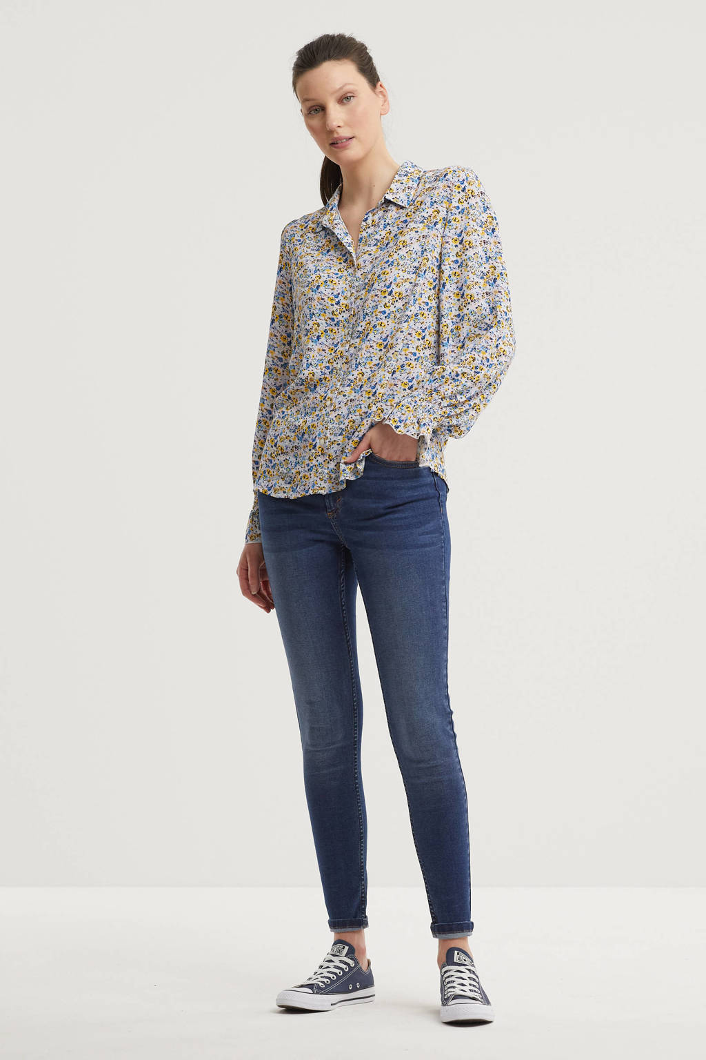 anytime blouse met all-over print wit/multi, Wit/multi