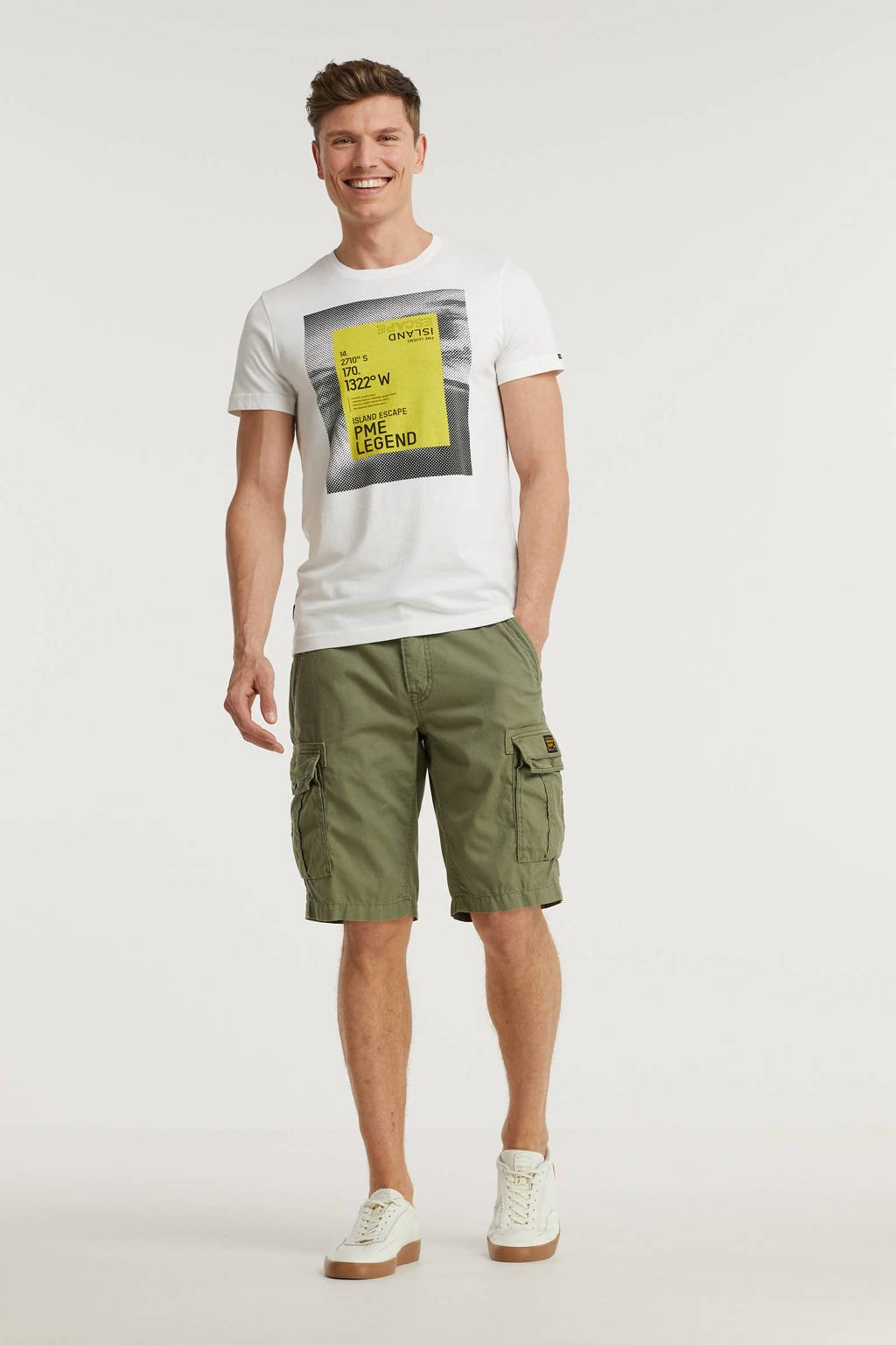PME Legend regular fit cargo short DOBBY STRUCTURE army, Army