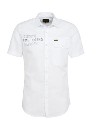 regular fit overhemd met logo wit