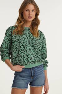anytime sweater met animal print groen/zwart, Lichtgroen