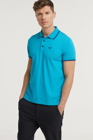 regular fit polo met contrastbies turquoise